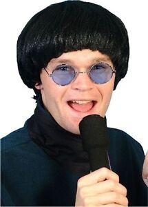 Beatles Oasis 60's 1960's Black Bowl Pop Fancy Dress Wig Accessory