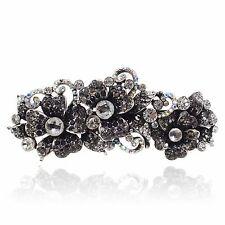 Black Rhinestone Crystal Flower Barrette Silver Tone Hair Clip Party Gift