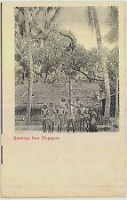 c1910 Greetings from Singapore postcard view - Native pole dancer