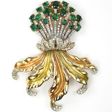 Trifari Philippe Pave Emeralds Gold Leaves Giant Floral Spray Pin Clip