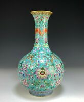 Superb Antique Chinese Turquoise Glazed Porcelain Bottle Vase
