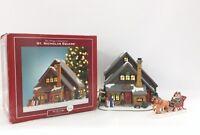 St Nicholas Square Ski Chalet Village Collection Lighted Ceramic Building 2004