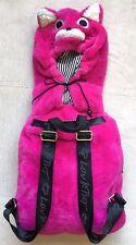 Betsey Johnson Girls' Hooded Backpack, Pink Fox, Roll-Up Hood, Black Straps, EUC