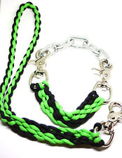small goat show collar and lead neon green and black