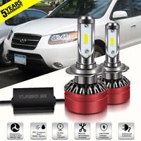 LED Headlight DOT Bulb H7 12000LM Driving Lights for Hyundai Santa Fe 2007-2008