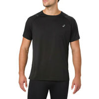 Asics Mens Icon Short Sleeve Top Black Sports Running Breathable Lightweight