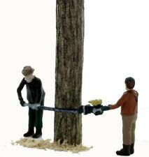 Lumberjack 2 Man Chainsaw Team Undercutting tree comes Finished S Scale