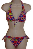 Bar III multi-color floral halter bikini size M swimsuit new