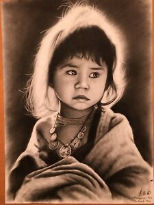 Changmai Thailand Original Signed Charcoal Portrait Hill Tribe Child  Detailed!