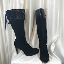 BOTERINE Black Boots Heels Knee High Suede Leather Size 10