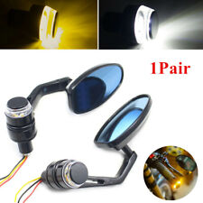 22mm Motorcycle Retro Handlebar Reversing Mirror Turn Signal Light Plug End Lamp