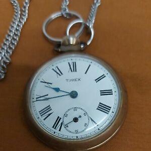 Vintage Timex Pocket Watch Manual Wind Gold Tone base metal Spares Or Repairs...