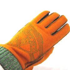 K-VW1025 Vivienne Westwood 100% Wool Gloves Green Orange  Size M US 6.5 - 7