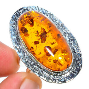 Baltic Amber Gemstone Handmade 925 Sterling Silver Jewelry Ring s.8 LAR-175
