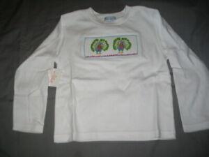 Smocked Girls Long Sleeve Tee Shirt size 5 PEACOCKS NEW Vive La Fete Cotton
