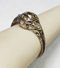 Antique Art Deco Platinum Old Cut Diamond Engagement Ring. Size 7