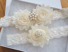 Wedding Garter Set - IVORY Shabby Flower Wedding Garter Set