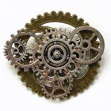 steampunk pendant necklace collar brooch pin mechanical gears men women jewelry