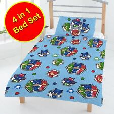 PJ MASKS BADGES JUNIOR BUNDLE SET - DUVET COVERS + QUILT + PILLOW - REVERSIBLE