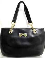 NINA RICCI VINTAGE BLACK LEATHER SHOULDER BAG SATCHEL W GOLD TONE CHAIN HANDLES