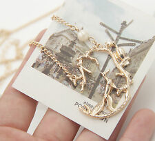 Gold Plated The Crow And The Fox Pearl Pendant Long Necklace Sweater Chain