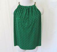 Chaus Womens Shirt Top PL Petite Sleeveless Chain Link Print Green Black Nice