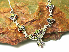MULTISTONE   Sterling  Silver 925  Gemstone  NECKLACE - Gift  Boxed!!