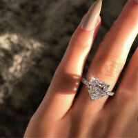 Delicate Fashion 925 Silver White Sapphire Love Heart Ring Wedding Women Jewelry
