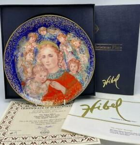"""Edna Hibel Christmas """"The Angels' Message"""" 1985 Collector's Plate Knowles COA"""