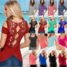 Women Cold Shoulder T-Shirt Ladies Summer Short Sleeve Casual Blouse Tee Tops