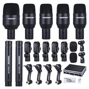TAKSTAR Pro Drum Set Wired Microphone 7 Pcs Mic Kit 5 Drum 2Condenser Microphone