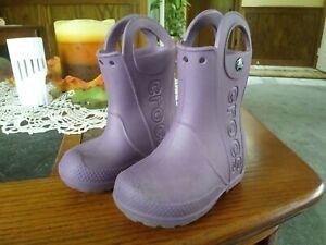 Crocs Slip On Boots Water Proof Lightweight Purple Size C8 Boy Girl Toddler.
