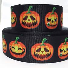 "Grosgrain Ribbon 5/8"", 7/8"", 1.5"", 3"" Halloween Pumpkin Trick Or Treat Printed"