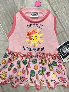 """SIMPLY WAG Pink  """"MOMMY'S LITTLE SUNSHINE"""" Dress Puppy/Dog small"""