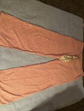 Aerie Lounge Pants Pink Striped Hearts Satin Bow Long OR Cropped Valentine Lg L
