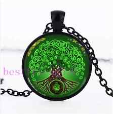 Green Celtic Tree Of Life Cabochon Glass Black Chain Pendant Necklace