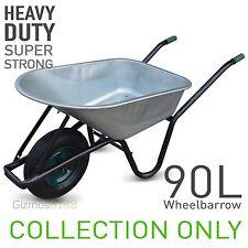 """90L Metal Galvanised builders Wheelbarrow 16"""" Pneumatic inflatable Tyre 200Kg"""