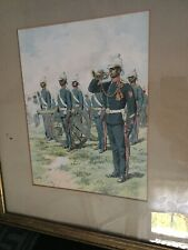 "Large Rare Antique Framed Military Print ""THE GUN LASCAR CORPS"" By Adrien Marie"