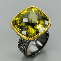Lemon Quartz Ring Silver 925 Sterling Handmade29ct+ Size 7.5 /R131196