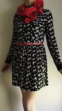 Casual Outfit Women. Black Floral Mini Dress Size 12 and Scarf. Both Viscose.