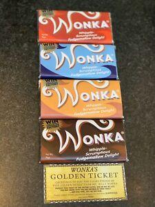 4X Willy Wonka Chocolate 2005 Full Set Gift Novelty Golden Ticket 100g Big Bar 4