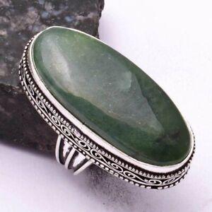 Nephrite Jada Ethnic Handmade Antique Design Ring Jewelry US Size-7.5 AR 42995