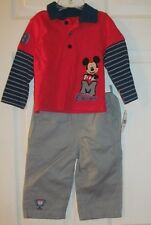 NWT Boys MICKEY MOUSE LONG SLEEVES SHIRT and PANT SET  Size 6-12 Months