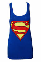 NEW WOMEN LADIES SUPERMAN PRINT SLEEVELESS MUSCLE VEST TOP SIZE 6,8/10,12/14
