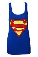 SEXY WOMEN LADIES SUPERMAN PRINT SLEEVELESS MUSCLE VEST TOP SIZE 8/10, 12/14