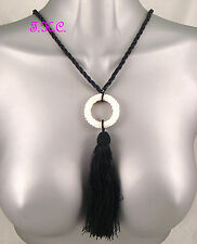Vintage French Gypsy Chic Deco Burlesque Glass Bead Flapper Tassel Long Necklace