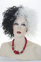 Black / White Fun Color Medium Short Curly Costume Fun Color Wigs