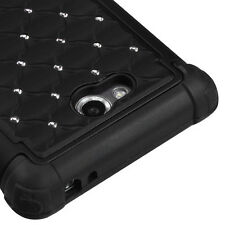 For LG Spirit 4G MS870 HYBRID IMPACT Dazzling Diamond Case Phone Cover Black
