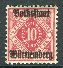 WURTTEMBERG;  1919 Official VOLKSSTAAT Optd. mint hinged 10pf. SP-245355
