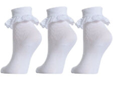 Girl's Cotton Rich Extra Soft Frilly Lace Socks